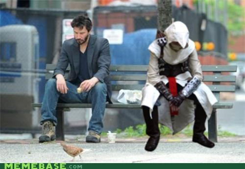 assassins creed,bench,Memes,sad keanu,video games