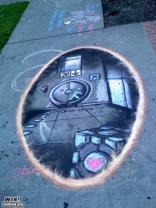 art,chalk,Hall of Fame,nerdgasm,Portal,sidewalk,video games