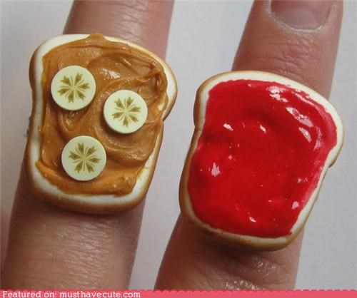 accessories,bananas,bread,friendship,jelly,Jewelry,peanut butter,rings,sandwich
