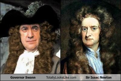 actors,Governor Swann,Gravity,Pirates of the Caribbean,science,scientists,Sir Isaac Newton