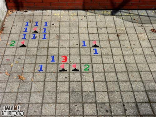 hacked irl,Minesweeper,nerdgasm,sidewalk