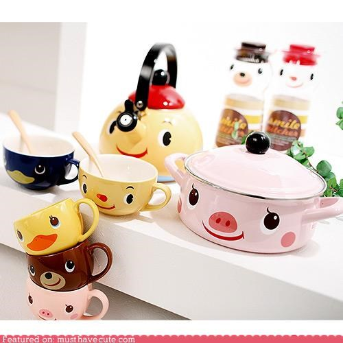 bowls cups faces kawaii kitchen mugs pots