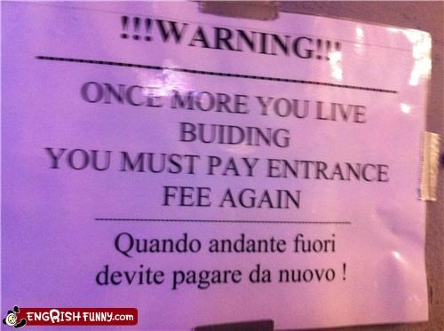 entrance fee payment sign warning - 4916284416