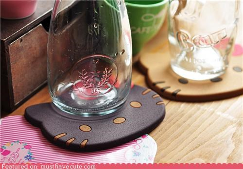 coasters,cookies,glasses,hello kitty,table