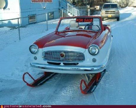 awesome,car,skis,wtf