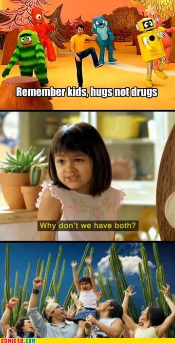 compromise,drugs,hugs,little girl,TV