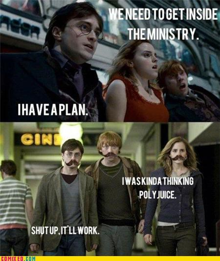 Harry Potter,ministry of magic,moustache,polyjuice