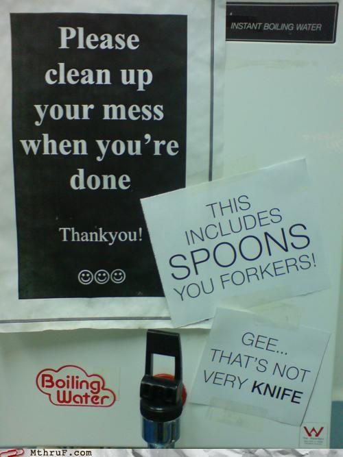 breakroom cutlery puns signs - 4917416960