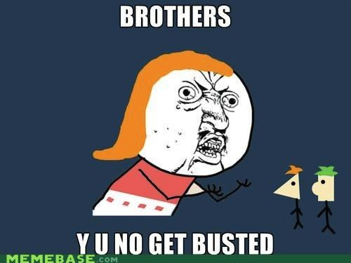 brothers,busted,derp,ferb,phineas,Y U No Guy