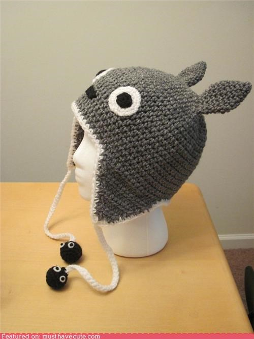 crochet,earflaps,ears,eyes,face,grey,hat,string,totoro