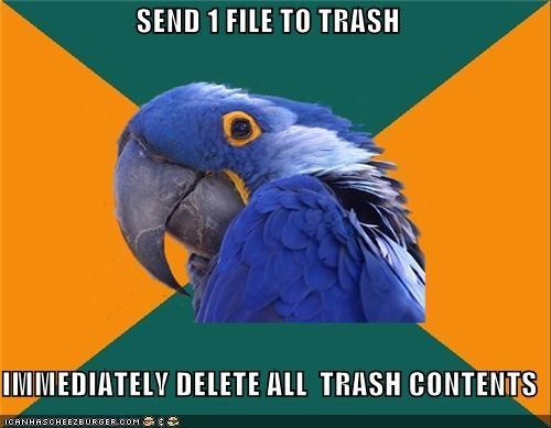 computers,delete,file,Paranoid Parrot,trash