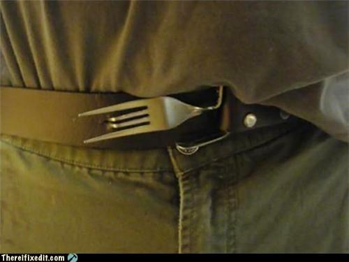dual use fork holding it up silverwear - 4920377856