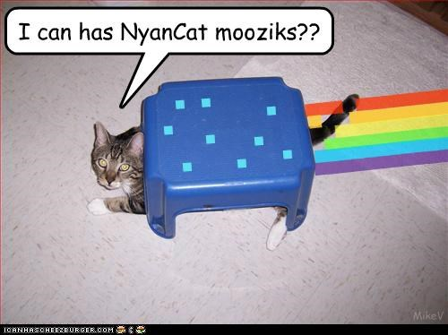 caption captioned cat chair do want i can has Music Nyan Cat pretending rainbow - 4920392448