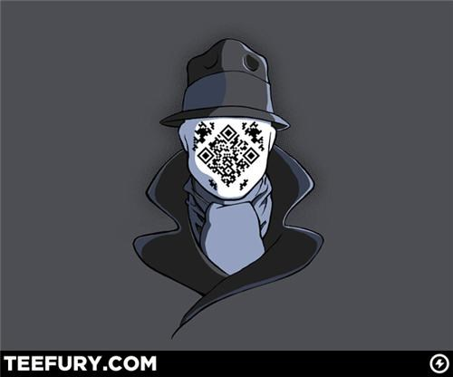 comics,Fan Art,merch,QR code,rorshach,teefury,t shirts,watchmen