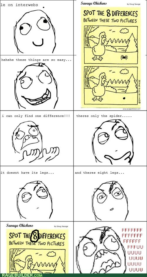 differences,Rage Comics,Savage Chickens,spider,troll