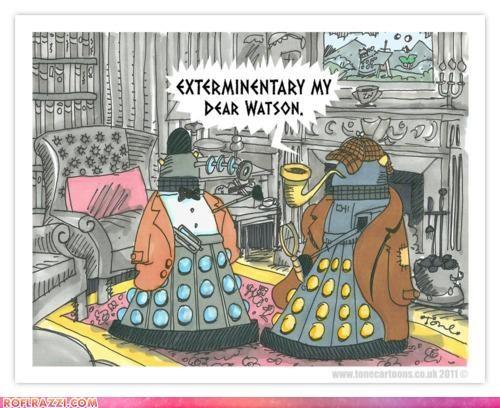 art,dalek,doctor who,funny,sci fi,sherlock holmes