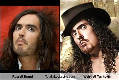 comedians,men wearing eyeliner,musicians,Russell Brand,Weird Al Yankovic
