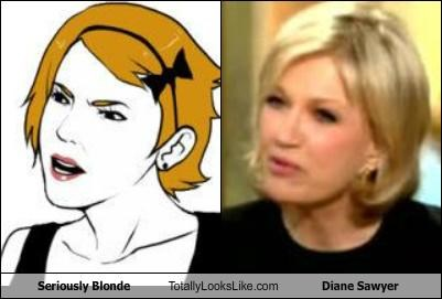 blondes diane sawyer meme faces newscaster seriously blonde