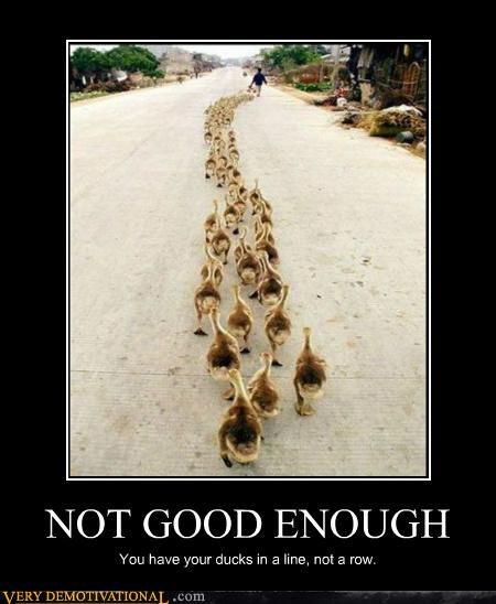 NOT GOOD ENOUGH You have your ducks in a line, not a row.