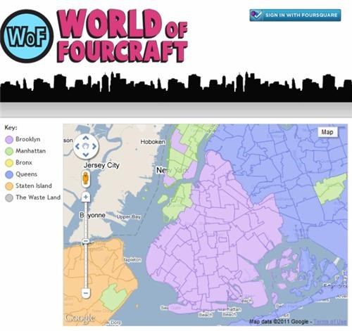 apps,check in,foursquare,new york city,risk,video games,world of fourcraft