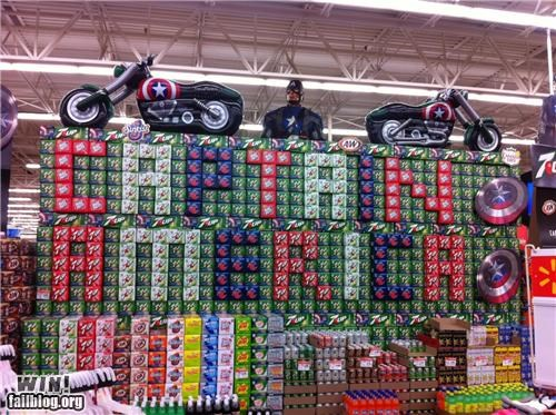 4th of july,captain america,grocery store,holiday,soda display,superhero