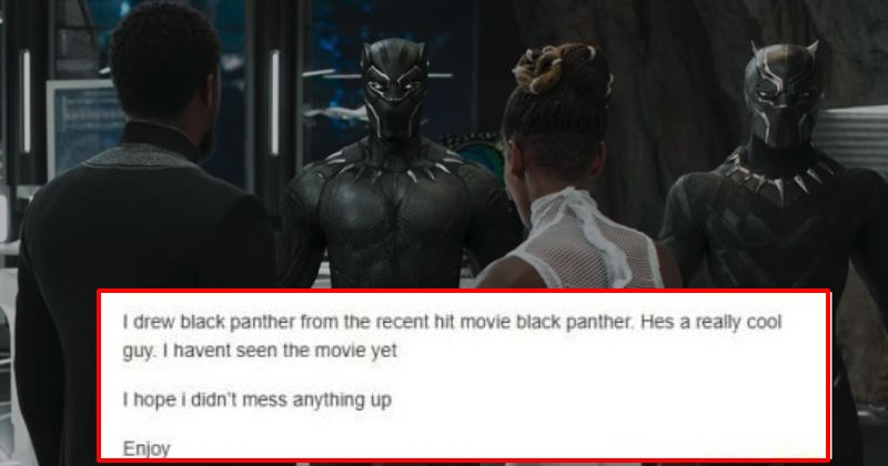 Guy trolls Black Panther fans by sharing his drawing of what he thinks Black Panther looks like without having seen the movie.