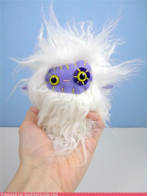 furry fuzzy monster Plushie purple white - 4923260160