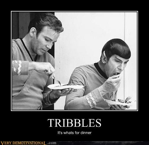 Captain Kirk,dinner,hilarious,Spock,tribbles
