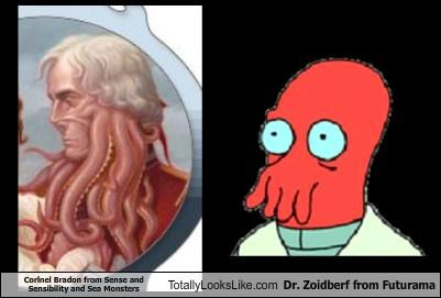 Corlnel Bradon from Sense and Sensibility and Sea Monsters Totally Looks Like Dr. Zoidberf from Futurama