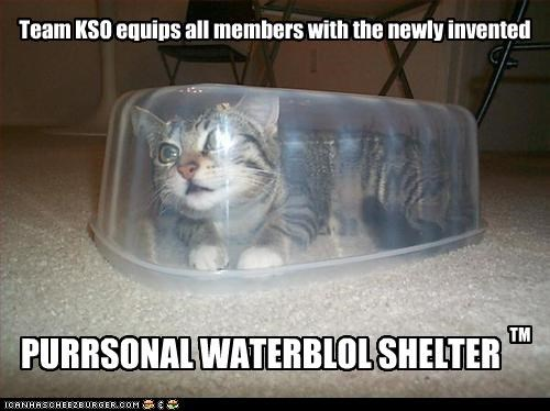 Team KSO equips all members with the newly invented PURRSONAL WATERBLOL SHELTER TM