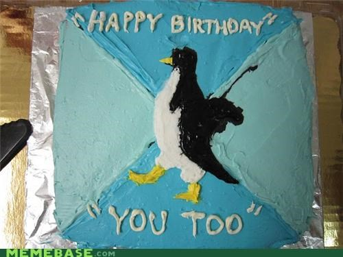 animemes,Awkward,cake,happy birthday,IRL,penguin,socially awkward penguin,you too