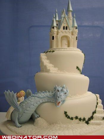 cake,castle,dragon,funny wedding photos,Never Ending Story,wedding cake