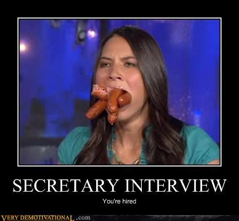 hilarious,hotdogs,interview,mouth,secretary