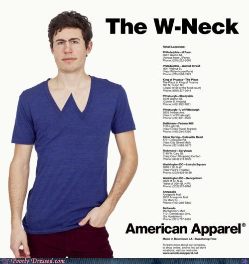 american apparel parody v neck w-neck wonder man