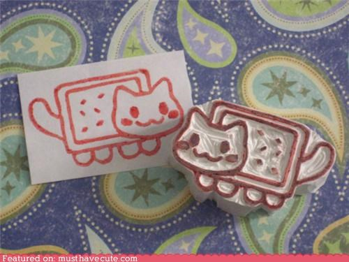 Nyan Cat pop tart rubber stamp stamp