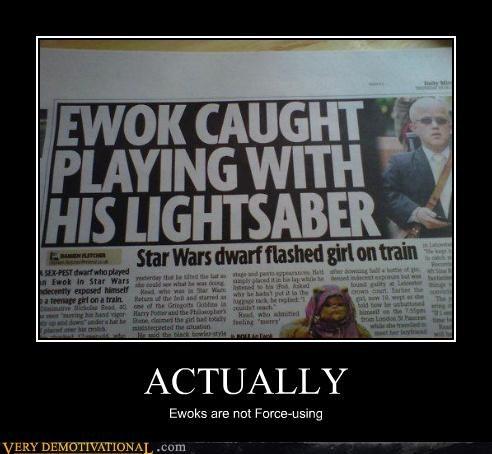 ewok force hilarious lightsaber star wars - 4926207232