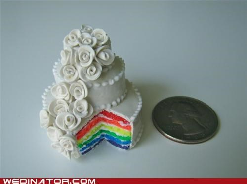 cake,funny wedding photos,gay marriage,rainbow,tiny,tiny cake