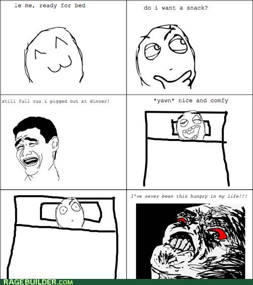 bed time,hungry,Rage Comics,raisin face,snack