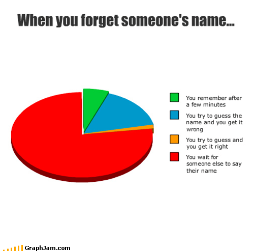 Awkward,forgetting,names,Pie Chart