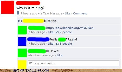 facebook,he asked,obvious answer,precipitation,rain