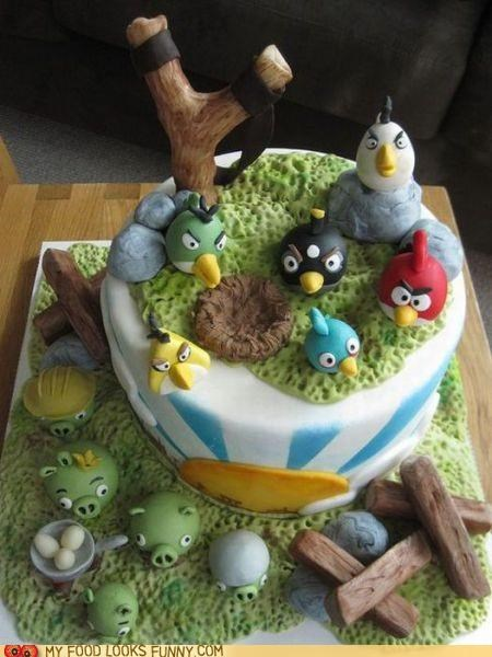 angry birds cake destroy eggs game pig video game