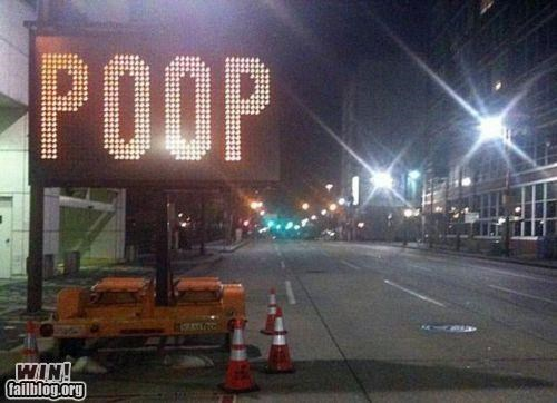 funny,hacked irl,poop,road signs
