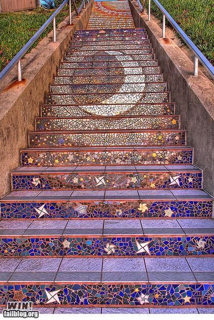 art design stairs the stars the moon - 4928421376