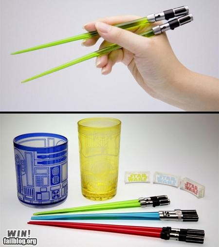 chopsticks,Hall of Fame,lightsaber,nerdgasm,star wars,utensils