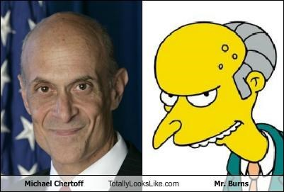 bald,cartoons,Michael Chertoff,mr burns,political,simpsons