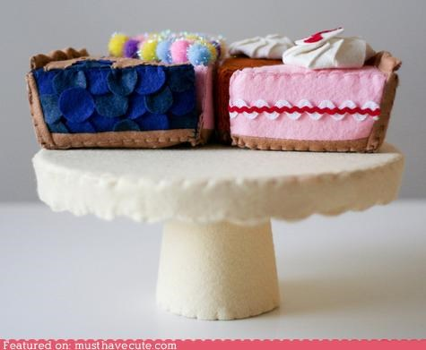 cake,cake stand,cheesecake,dessert,fabric,felt,pie
