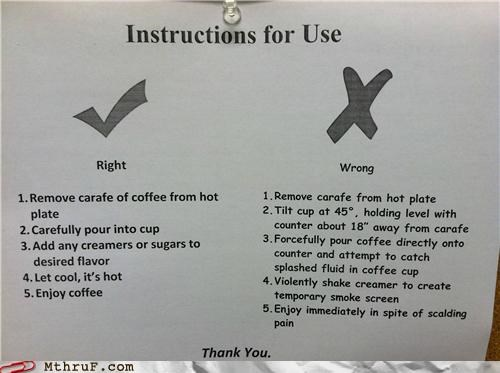break room,coffee,instructions