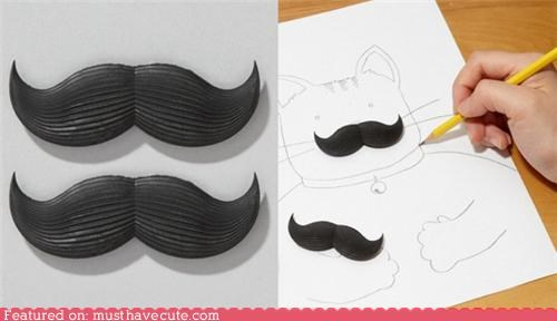 black erase erasers mistake mustaches paper writing - 4928884480