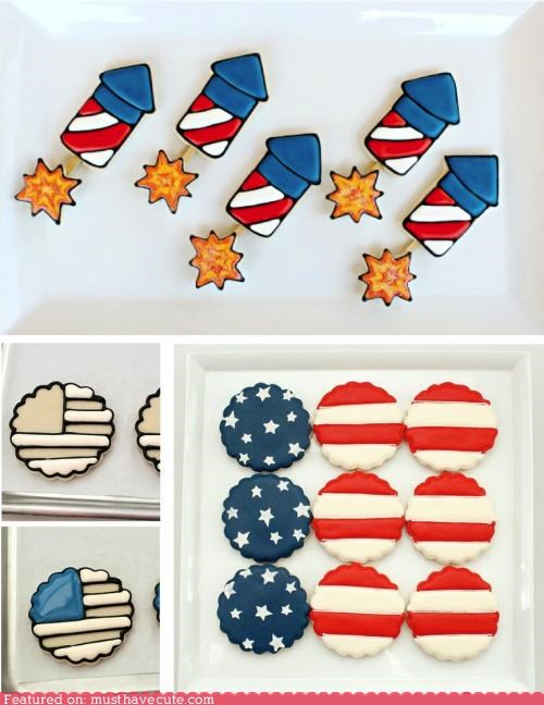 4th of july,america,cookies,epicute,fireworks,flag