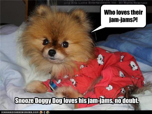Who loves their jam-jams?! Snooze Doggy Dog loves his jam-jams, no doubt.